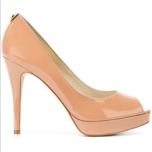 MICHAEL Michael Kors Shoes - Michael Kors Nude Patent Leather Peep Toe Heels